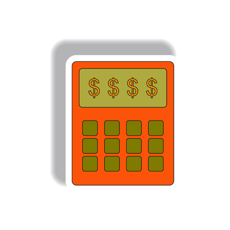 calculate: Vector illustration in paper sticker style. infographic design of calculator