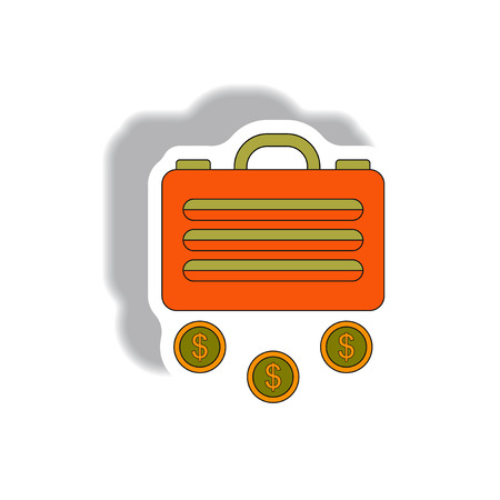 Vector illustration in paper sticker style. infographic design of suitcase and currency