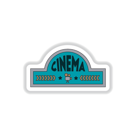 adverts: Vector illustration in paper sticker style cinema sign