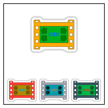 edges: Collection of Vector illustration in paper sticker style filmstrip size