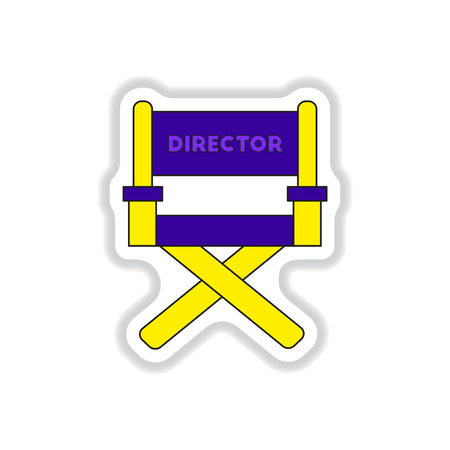 Vector illustration in paper sticker style Movie director chair