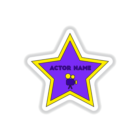famous industries: Vector illustration in paper sticker style Walk of fame star with actor name