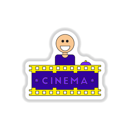 newsstand: Vector illustration in paper sticker style Seller sells tickets to cinema