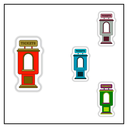 newsstand: Collection of Vector illustration in paper sticker style cinema ticket booth