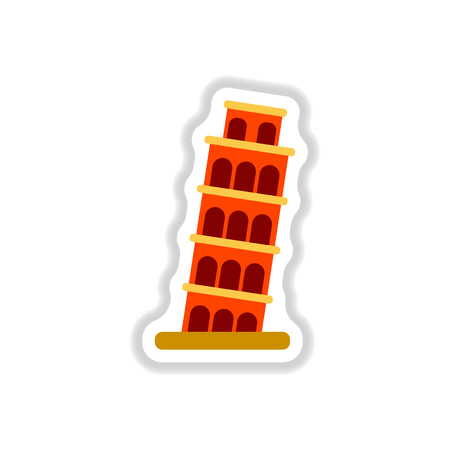 touristic: Vector illustration in paper sticker style The Leaning Tower of Pisa Illustration