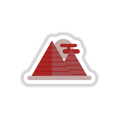Vector illustration in paper sticker style Egypt pyramids and sun