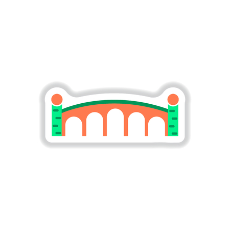 Vector illustration in paper sticker style Stone arch bridge