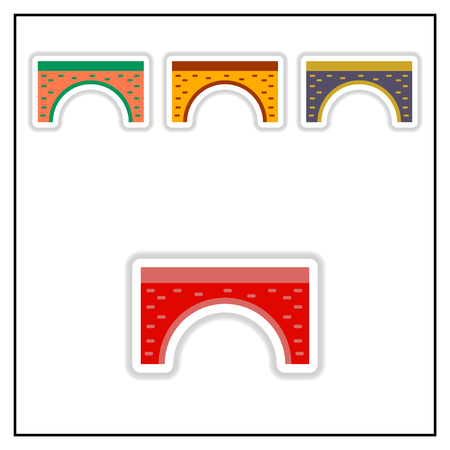 Collection of Vector illustration in paper sticker style brick bridge