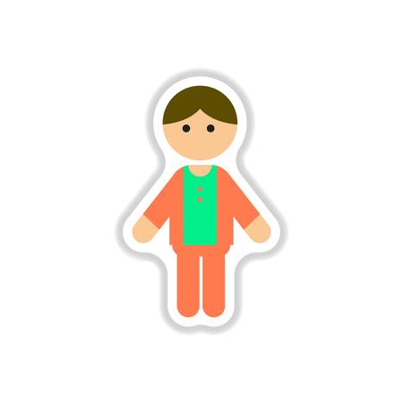 Vector illustration in paper sticker style little boy