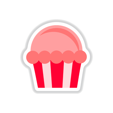carbohydrate: Vector illustration in paper sticker style Cupcake Illustration