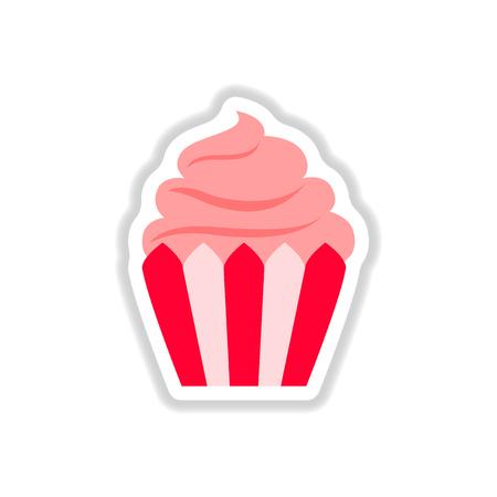 creamy: Vector illustration in paper sticker style Cupcake Illustration