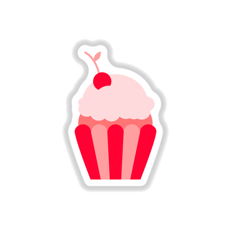 Vector illustration in paper sticker style cherry cupcake