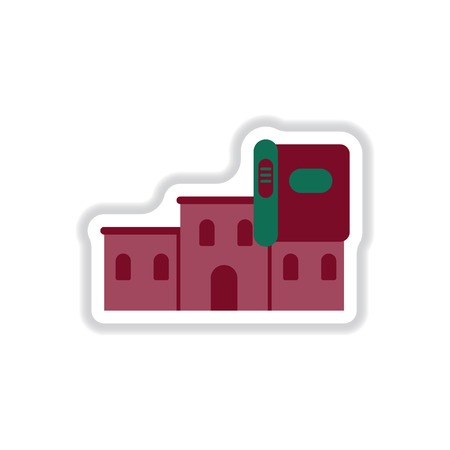 ancient civilization: Vector illustration in paper sticker style History Book and building Illustration