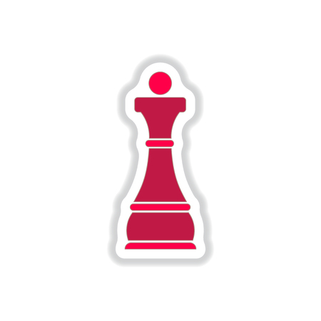 Vector illustration in paper sticker style Chess queen Illustration