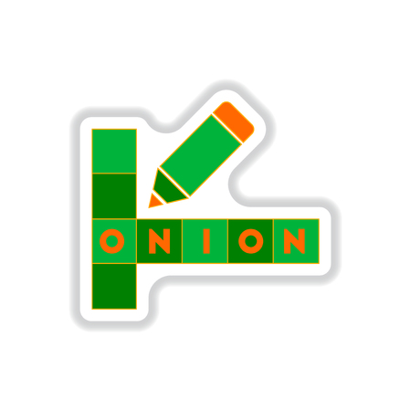 Vector illustration in paper sticker style crossword education game for children about food