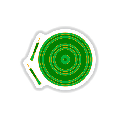 advantages: Vector illustration in paper sticker style Dart and dartboard