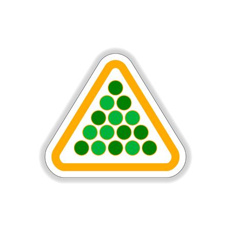 Vector illustration in paper sticker style Set of billiard balls in triangle Illustration