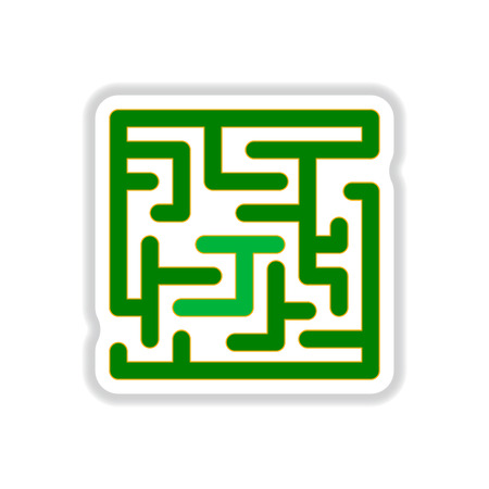 rout: Vector illustration in paper sticker style Maze Game