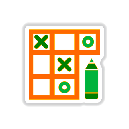 Vector illustration in paper sticker style tic tac toe