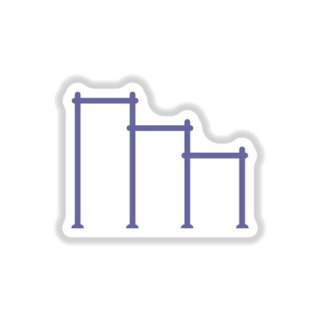 Vector illustration in paper sticker style sports horizontal bars for street workout playground