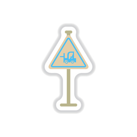 fork lifts trucks: Vector illustration in paper sticker style forklift in operation road sign Illustration