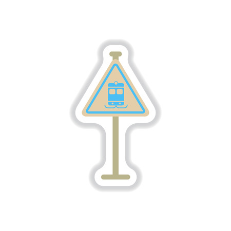 traffic pole: Vector illustration in paper sticker style tram traffic sign