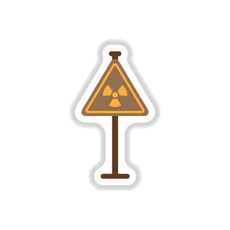 irradiation: Vector illustration in paper sticker style road sign with an radioactive symbol