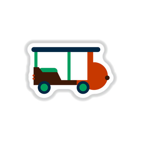stylish icon in paper sticker style excursion car