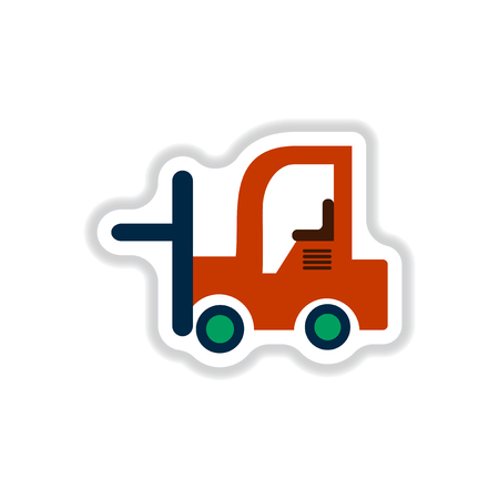 pier: Vector illustration in paper sticker style Forklift truck Illustration