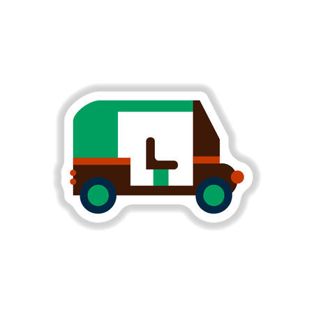 stylish icon in paper sticker style trailer car Illustration