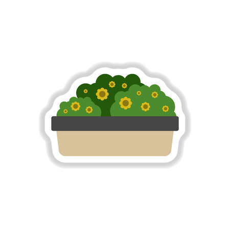 cultivate: Flowers in a big pot icon, house pot plants, garden interior, landshaft design item in paper sticker style