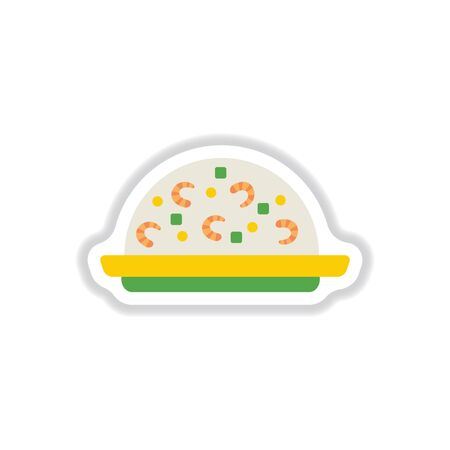 Fried rice with shrimp sticker Illustration