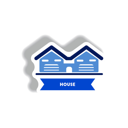 domestic garage: stylish icon in paper sticker style building house