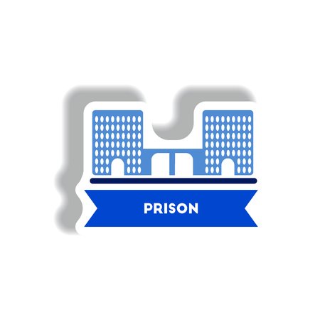 detainee: stylish icon in paper sticker style building prison Illustration