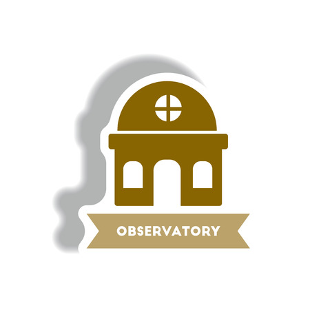 stylish icon in paper sticker style building observatory