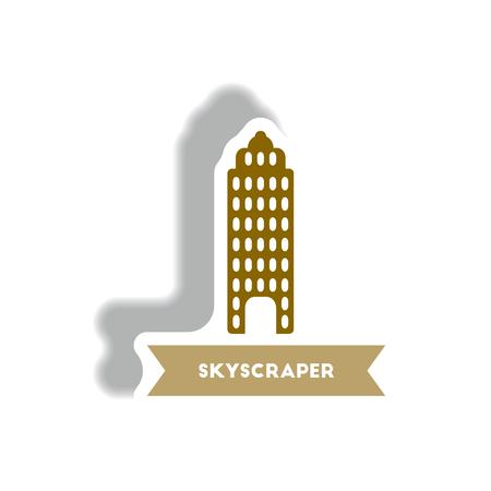miniature: stylish icon in paper sticker style building skyscraper