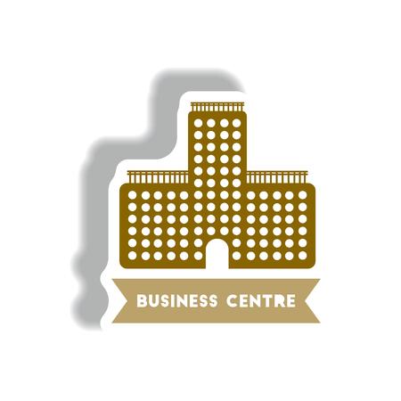 Stilvolle Symbol in Papier Aufkleber Stil Gebäude Business Center Standard-Bild - 80451051