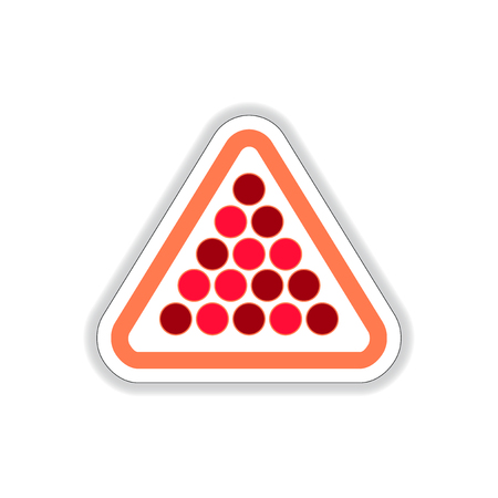 cue ball: Vector illustration in paper sticker style Set of billiard balls in triangle Illustration