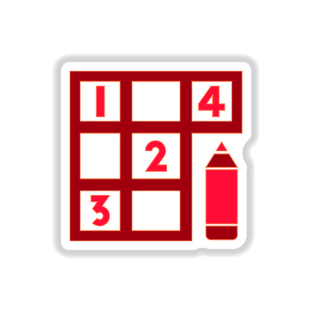 Vector illustration in paper sticker style Sudoku and pencil