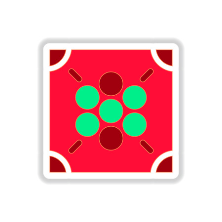 Vector illustration in paper sticker style Ludo board game