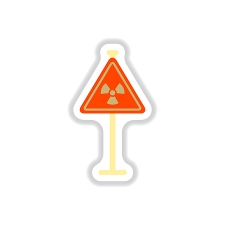 Vector illustration in paper sticker style road sign with an radioactive symbol