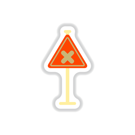 Vector illustration in paper sticker style awareness sign with an x sign