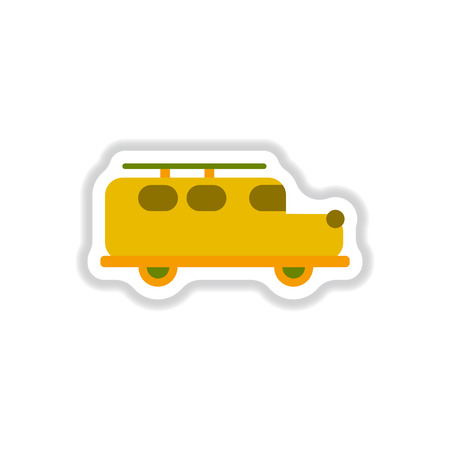 stylish icon in paper sticker style car