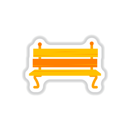 Wooden bench in paper sticker style. Park vector bench in flat style Illustration