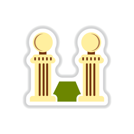 vintage stone fence balustrade and grass in paper sticker style