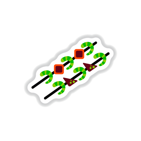 Shrimp on wood stick. Grilled Shrimp Skewers sticker Illustration