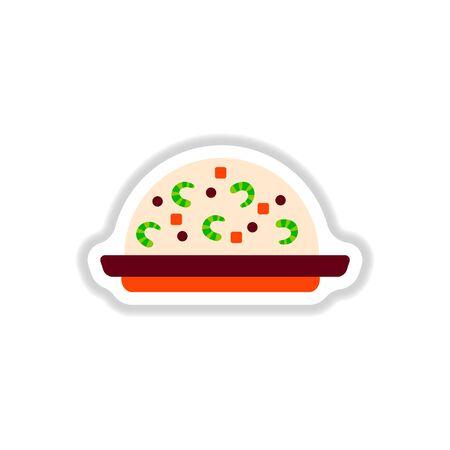 fried shrimp: Fried rice with shrimp sticker Illustration