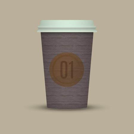 Coffee cup to go vintage texture paper cup take away coffee Illustration