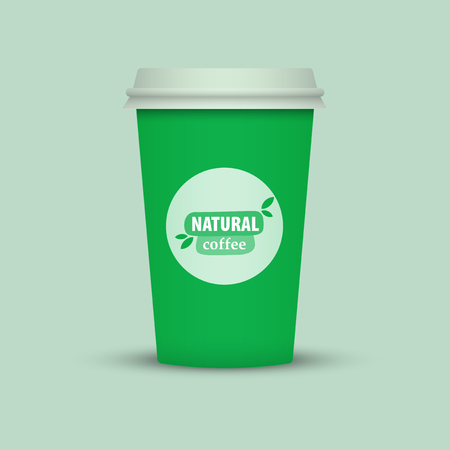 Green Coffee cup vector illustration. Paper coffee cup icon isolated on background. Plastic coffee cup with words Natural Coffee