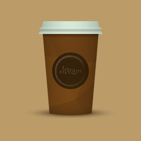Coffee cup in low poly style. brown coffee plastic take away cup Фото со стока - 98008143